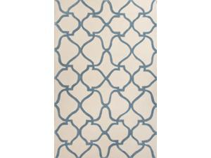 Polyester Blue Ivory Moroccan Pattern Easy care Rug (2' x 3')