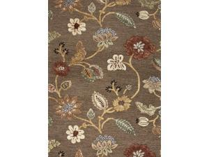 Wool and Art Silk Brown Yellow Floral Pattern Plush Pile Rug (9' x 12')