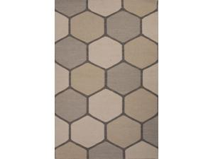 Wool Gray Taupe Geometric Pattern Easy Care Rug (2' x 3')
