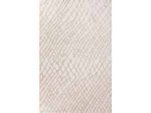 Wool and Art Silk Ivory Gray Tone-on-Tone Pattern Textured Rug (9' x 12')