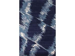 Wool Blue Abstract Pattern Plush Pile Rug (2' x 3')