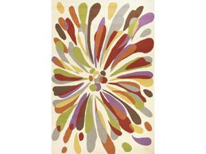 """Polypropylene Red Multi Abstract Pattern Looped Rug (3' 6"""" x 5' 6"""")"""