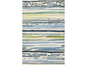 "Polypropylene Blue Green Abstract Pattern Durable Rug (3' 6"" x 5' 6"")"