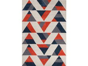 "Polyester Red Black Geometric Pattern Durable Rug (5' x 7' 6"")"