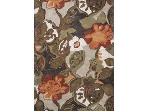 Wool and Art Silk Brown Orange Floral Pattern Plush Pile Rug (12' x 15')