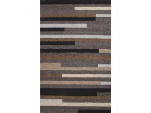 Polyester Taupe Ivory Geometric Pattern Durable Rug (3' x 5')