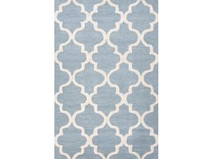 "Wool Blue Ivory Geometric Pattern Plush Pile Rug (9' 6"" x 13' 6"")"