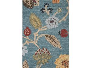 Wool and Art Silk Blue Red Floral Pattern Plush Pile Rug (5' x 8')
