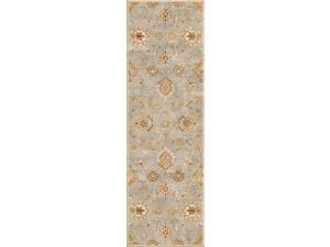 Wool Blue Ivory Oriental Pattern Easy Care Rug (4' x 16')
