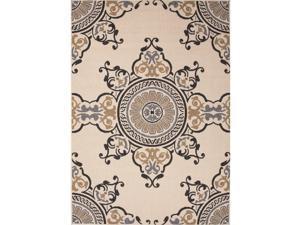 Handmade Oriental Pattern Taupe/Gray Polypropylene (4x5.3) Outdoor Rug