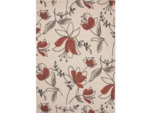 Handmade Floral Pattern Ivory/Red Polypropylene (4x5.3) Outdoor Rug