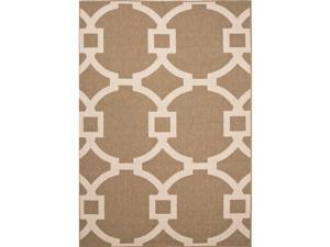 Handmade Geometric Pattern Brown/Taupe Polypropylene (4x5.3) Outdoor Rug