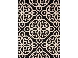 Handmade Geometric Pattern Black/Taupe Polypropylene (4x5.3) Outdoor Rug