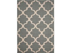 Handmade Moroccan Pattern Blue/White Polypropylene (2x3.7) Outdoor Rug