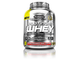 MuscleTech Platinum 100% Whey Supplement, Strawberries and Cream, 5 Pound
