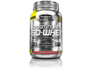 MuscleTech Platinum 100% ISO Whey Supplement, Strawberry Shortcake, 1.76 Pound