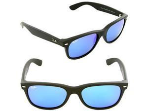 Ray Ban New Wayfarer Flash Sunglasses - Matte Black Frame / Blue Lenses RB2132 622/17 (55mm)