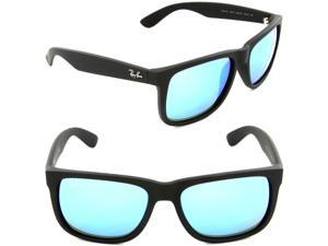 Ray Ban RB4165 Justin Sunglasses - Rubber Black Frame / Blue Mirror Lenses 622/55 54-16