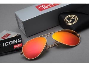 Ray-Ban RB3025 Large Aviator Sunglasses – Matte Gold / Orange Mirror - 112/69 58mm