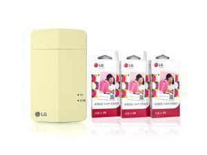 [Printer+Paper SET] New LG Pocket Photo Printer PD251 [Yellow] + LG Zink Sticker Photo Paper [90 Sheets] Zero Ink Printing Technology - Compatible w/iOS & Android Devices