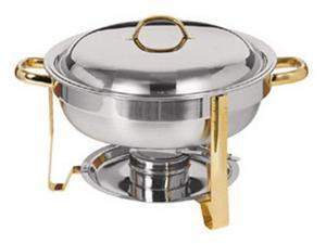 Chafer, 4 Qt Round, Gold Accented, GIFT BOXED