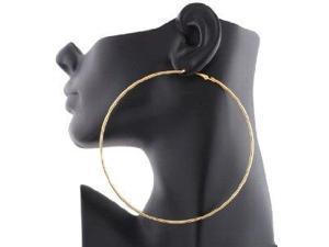JOTW 12 Pairs of Ladies 4.5 Inch Goldtone Hoop Earrings