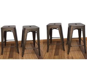 BTEXPERT® 24-inch Industrial stacking Tabouret Metal Vintage Antique Bronze  Copper Rustic Distressed Dining room Counter Bar Stool Modern (Set of 4 barstool)