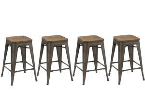 BTEXPERT® 24-inch Industrial Metal Vintage Antique Copper Rustic Distressed Counter Bar Stool Modern - Handmade Wood top seat(Set of 4 barstool)