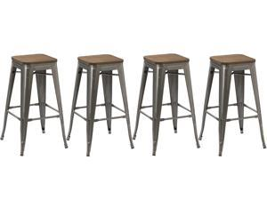 BTEXPERT® 30-inch Industrial Stackable Tabouret Metal Vintage Antique Style Clear Brush Distressed Counter Bar Stool Modern wood top seat (Set of 4 barstool)