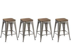 BTEXPERT® 24-inch Industrial Metal Vintage Antique Style Clear Brush Distressed Counter Bar Stool Modern- Handmade Wood top seat (Set of 4 barstool)
