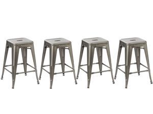 BTEXPERT® 24-inch Industrial Tabouret Vintage Antique Style Distressed Metal Brush Modern Dining Counter Bar Stool - (Set of 4 barstool)