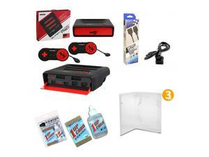 Super Retro Trio Gaming Bundle with 6' Foot Extension Cable, 3 Protective Universal Game Cases, Universal Cartridge Cleaning Kit - Red and Black Edition