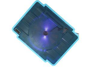 """New USB Cooing Cooler pad Stand for 10-17"""" Laptop PC One fan With LED Light Blue"""