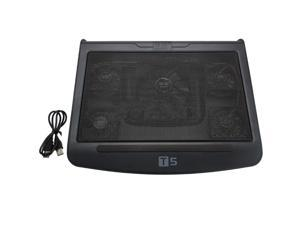 """New 5 Fan LED Notebook Cooling Cooler Stand Pad for 10-17"""" Laptop Plastic Black"""