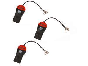 3 X New Portable USB 2.0 MicroSD T-Flash TF Memory Card Reader for 8GB Black