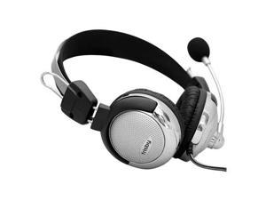 New Frisby Computer PC Headphones W Noise Canceling MIC Silver/Black MSK-814VR