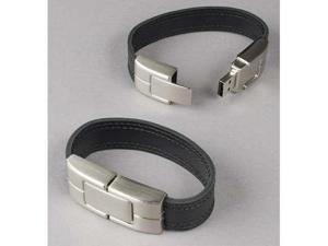 Deluxe Black Leather Wristband USB Flash Memory Drive 32GB