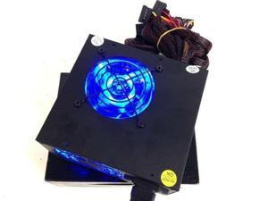 New 700W Gaming Two 2x 80MM Blue LED Fan Fans SATA PCI-e Silent ATX Power Supply