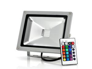 Remote Control Outdoor LED Flood Light (Waterproof, 20W, 1800 Lumens, 16 Color Changing, Multiple Modes)