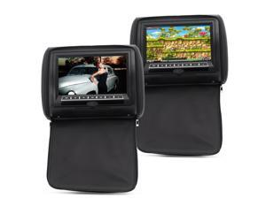 9 Inch Car Headrest Monitor with DVD Player - Pair (800x480, Built-in Speaker, Wireless Game Function)