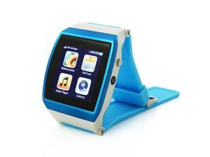 "1.55"" Capacitive IPS Touch Screen Watch Shaped Cell Phone with Bluetooth, FM Radio, Camera, Alarm Clock (Blue)"