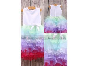 Custom Made A Line Colorful Wedding Girl Flower Girl Dress Cute Dress Cheap Party Dress