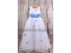 White A-Line Sleeveless Cheap Beach Wedding Girl Flower Girl Dress Cute Dress Online