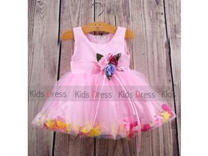 Cute Pink A-Line Sleeveless Cheap Tulle Wedding Girl Flower Girl Dress Cute Dress Online With Flowers