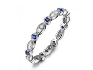 Antique Art Deco Sapphire Diamond 14K White Gold Full Eternity Band Wedding Ring