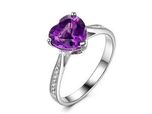 Heart Shaped 8mm Purple Amethyst Diamonds 14K White Gold Engagement Wedding Ring