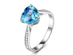 Heart Shaped 8mm Blue Topaz H/SI Diamonds 14K White Gold Engagement Wedding Ring