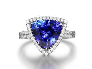 AAAAA 4.38ct Natural Trillion Cut Tanzanite Diamonds 18K White Gold Wedding Ring