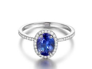 Halo 1.15ctw VS Blue Tanzanite 14K White Gold Pave H/SI Diamonds Engagement Ring