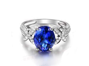 3.87ctw AAAA Natural Tanzanite VVS Diamonds Solid 18K White Gold Engagement Ring